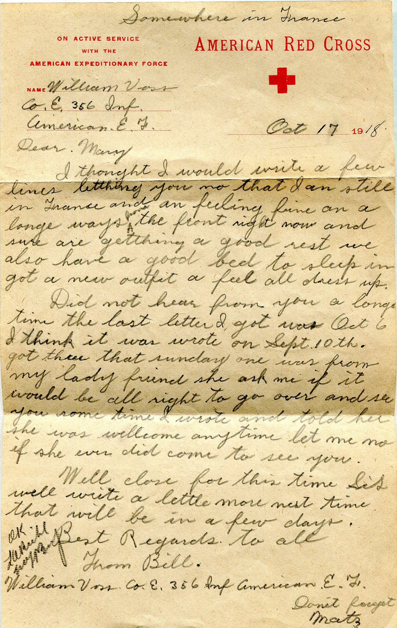 U.S. Soldier's Letter To His Sister, Written During WWI