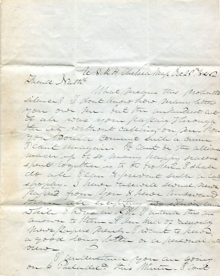 U.S. Marine Hospital Physician's Letter to a Friend. Dr. James Fanning Noyes.