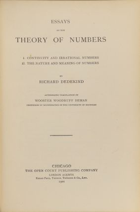 Essays on the Theory of Number