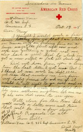 U.S. Soldier's Letter to His Sister, written during WWI. William Voss
