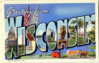 Greetings from Wisconsin Postcard
