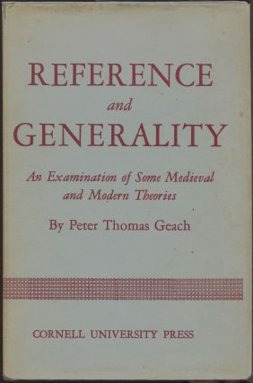 Reference and Generality; An Examination of Some Medieval and Modern Theories. Peter Thomas Geach